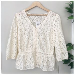 ✨NWT Ivory Lace Blouse